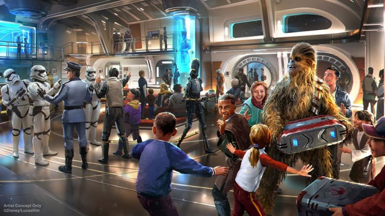 Imagem do projeto do novo hotel de Star Wars por dentro, com crianças interagindo com o Chewbacca e stormtroopers ao fundo