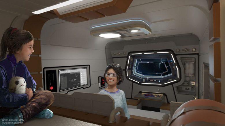 Imagem do projeto do novo hotel de Star Wars. A imagem mostra a entrada do que parece uma nave espacial, com visitantes chegando ao hotel.