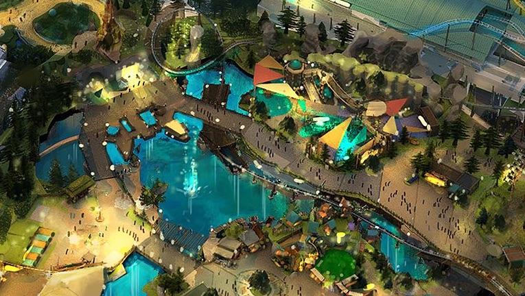 Conceito artístico de uma área infantil no novo parque da Universal., o Epic Universe.