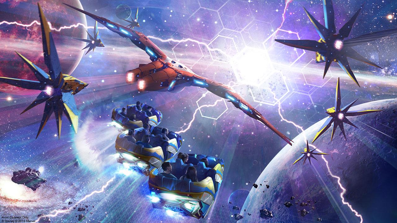 Foto do protótipo da nova montanha-russa de Guardiões da Galáxia, em que os carrinhos parecem estar no espaço em meio a várias naves.
