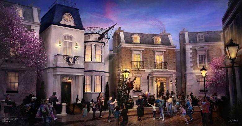 Projeto de uma das novas atrações anunciadas na D23, da Mary Poppins, trazendo a rua das cerejeiras para dentro do Epcot. A imagem mostra as casas de Londres, as cerejeiras e os visitantes observando.