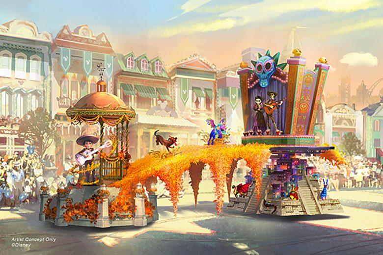 Conceito da nova parada da Disney da California, com tema do filme Viva - A Vida é uma festa