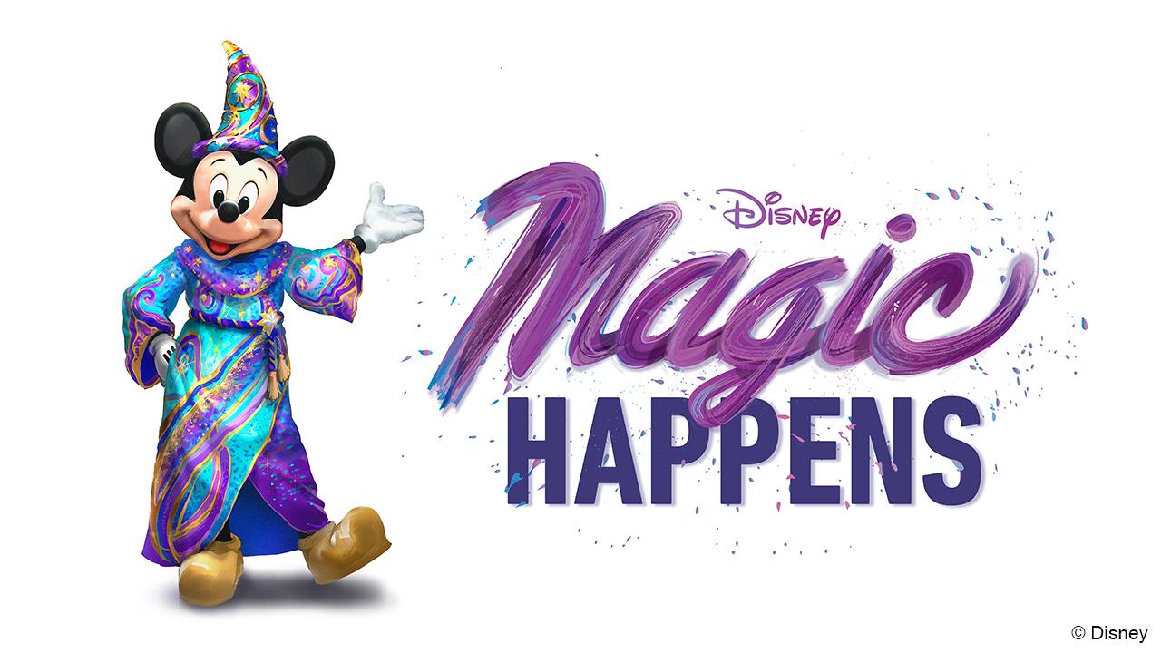 Imagem de divulgação da nova parada Magic Happens, com o Mickey Feiticeiro ao lado do nome escrito em roxo.