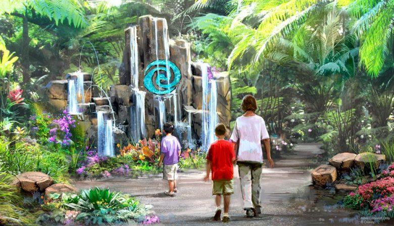 Protótipo da nova atração Journey of Water do Epcot, que mostra uma cachoeira rodeada de vegetação