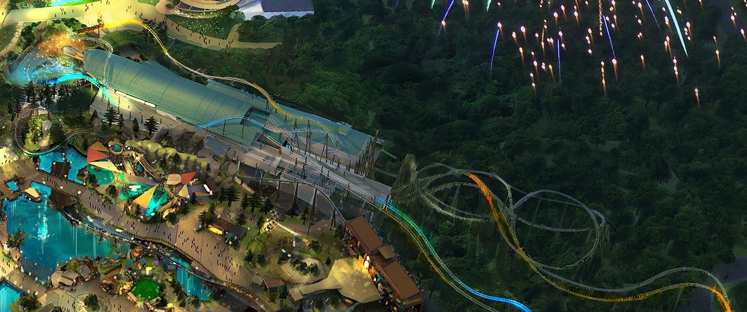 Conceito artístico de uma montanha-russa no parque novo da Universal, o Epic Universe.