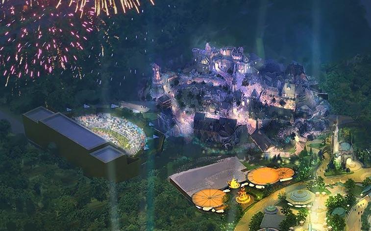 Conceito artístico possivelmente da área dos Monstros do novo parque, iluminada em roxo.