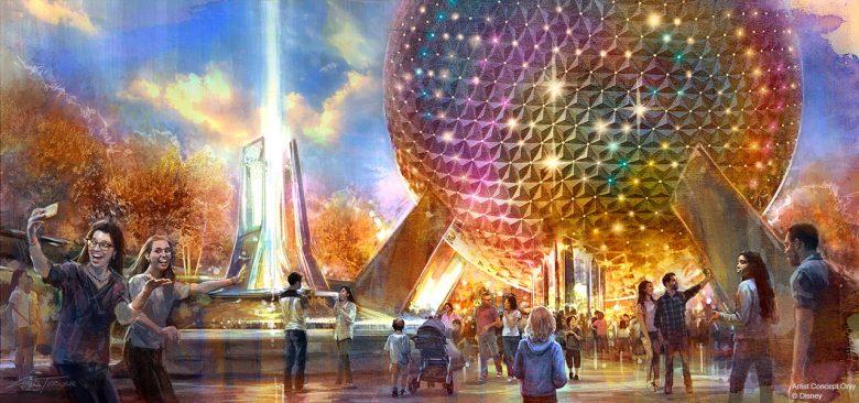 Foto de divulgação da Disney, com a Bola do Epcot iluminada com luzes coloridas e visitantes em volta.