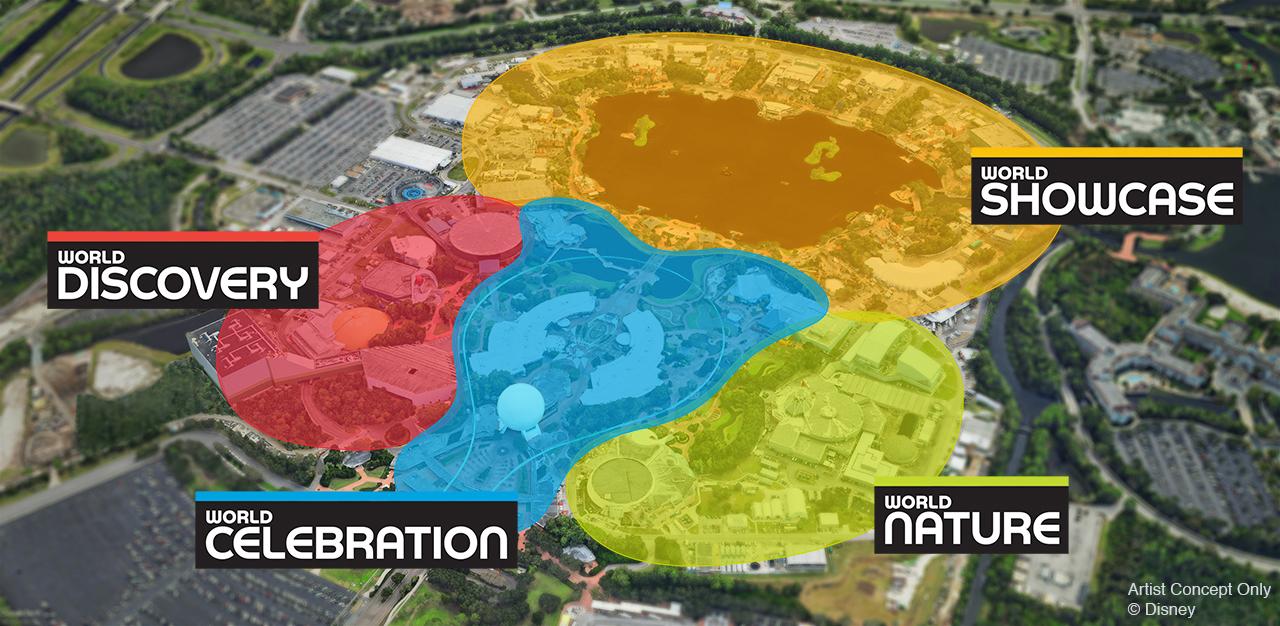 Imagem do mapa do Epcot, após as mudanças planejadas pela Disney. Ele está dividido em áreas de cores diferentes: World Discovery (vermelho), World Showcase (amarelo). World Nature (verde) e World Celebration (azul)