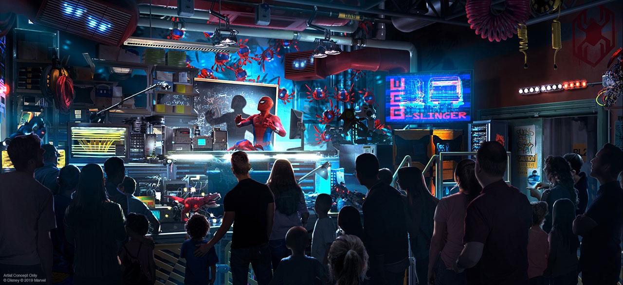 Imagem de como será a atração do Homem Aranha, chamada Worldwide Engineering Brigade, no Avengers Campus da California