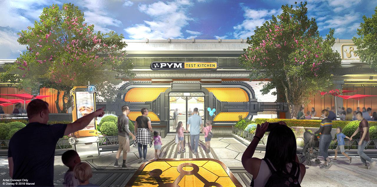 Foto de como será o restaurante que haverá no Avengers Campus, o Pym Test Kitchen