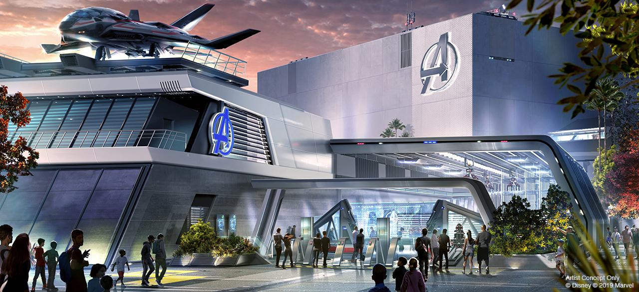 Conceito de como será a atração que ficará no prédio da sede dos Vingadores do Avengers Campus