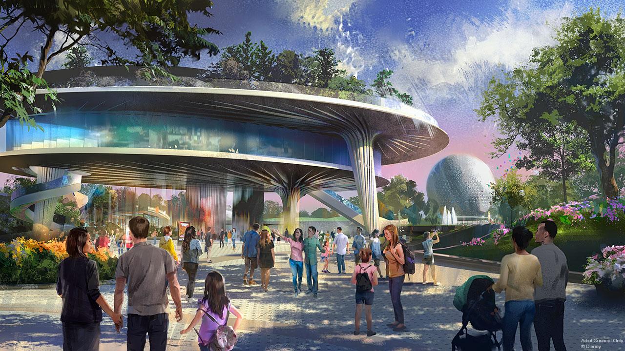 Protótipo de como será o novo pavilhão de 3 andares do Epcot, com a bola ao fundo e visitantes passando.