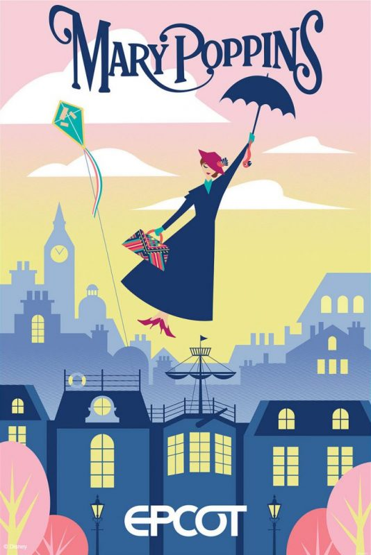 """Eu não tenho estrutura psicológica para esta nova atração ainda. Pôster da Mary Poppins que tem uma ilustração da personagem voando com seu guarda-chuva, com Londres ao fundo, e """"Epcot"""" embaixo, significando que haverá uma atração do filme nesse parque."""