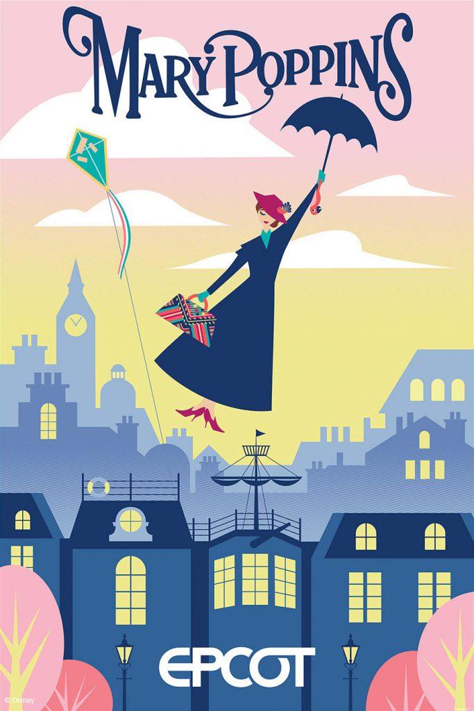 """Pôster da Mary Poppins que tem uma ilustração da personagem voando com seu guarda-chuva, com Londres ao fundo, e """"Epcot"""" embaixo, significando que haverá uma atração do filme nesse parque."""