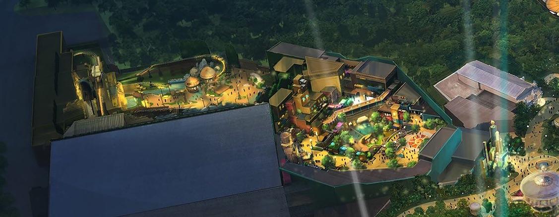Conceito artístico da área Super Nintendo World do novo parque, divulgada pela Universal. A imagem é uma vista de cima de um parque de diversões iluminado à noite