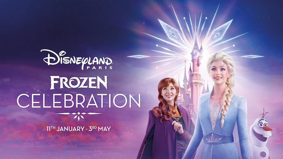 Cartaz de divulgação da celebração de Frozen, com Anna, Elsa e Olaf