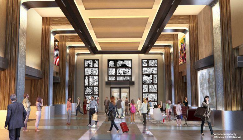 O projeto de como ficaria o lobby do novo hotel da Marvel em Paris