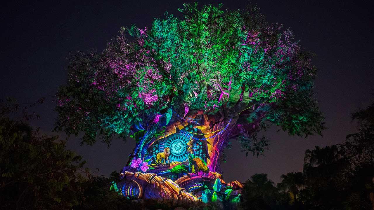 Animal Kingdom teve show noturno para a virada do ano. Foto da árvore da vida do Animal Kingdom iluminada em diversas cores no Ano Novo