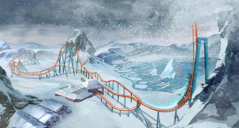 Imagem do projeto da Ice Breaker, nova montanha russa do Sea World. A imagem artística mostra a montanha russa íngreme em meio à neve, já que será inspirada no Ártico