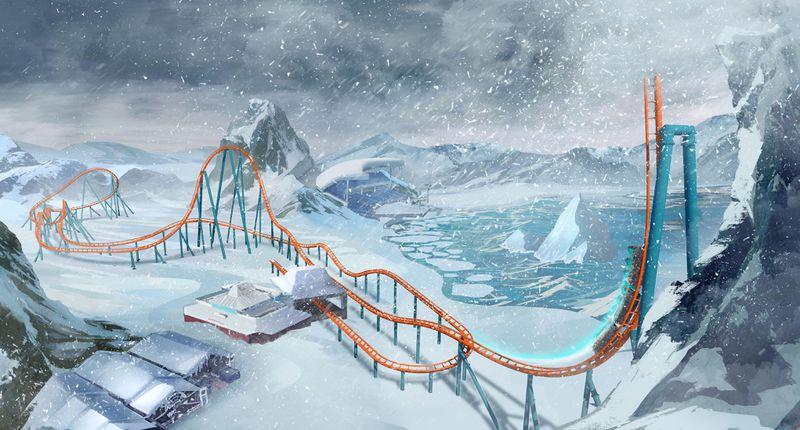 Novas atrações de Orlando - Imagem do projeto da Ice Breaker, nova montanha russa do Sea World. A imagem artística mostra a montanha russa íngreme em meio à neve, já que será inspirada no Ártico
