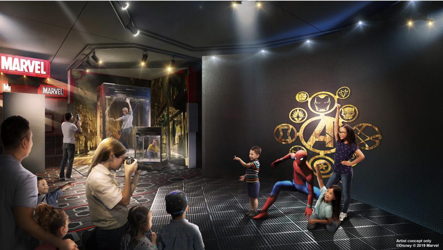 Conceito de como será o encontro com personagens no hotel da Marvel