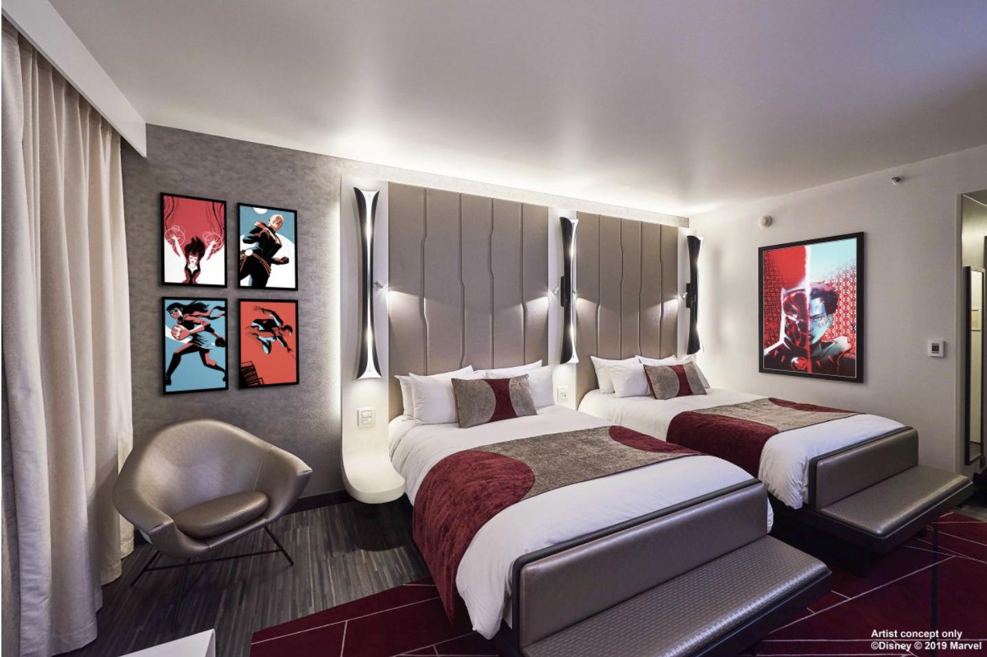 Conceito do quarto do hotel da Marvel que chegará à Disney de Paris