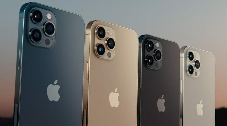 Imagem de divulgação dos novos modelos de iPhone 12, nas cores azul, dourado, cinza e branco.