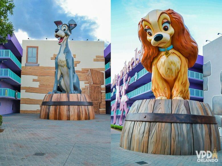 Fotos da decoração do hotel Pop Century, os dois personagens da Dama e o Vagabundo em estátuas gigantes.