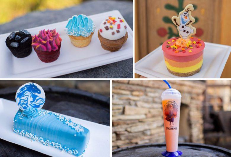 Foto dos doces e bebidas da Frozen Dessert Party, todos com tema do filme.