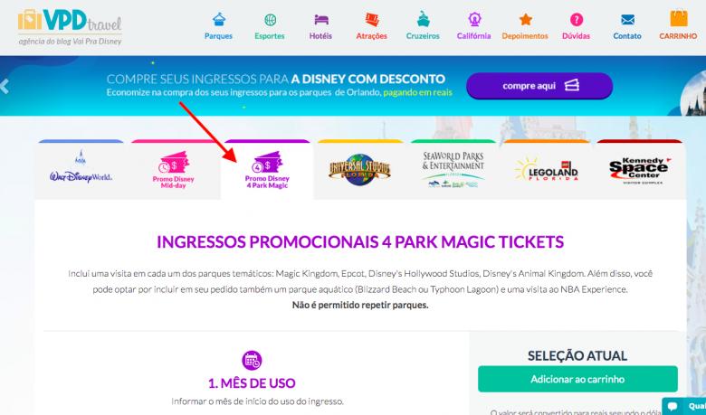 Foto da tela de venda dos ingressos promocionais da Disney no site VPD Travel