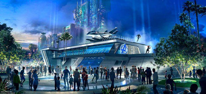 Conceito artístico do Avengers Headquarters que virá em uma segunda fase de expansão da área
