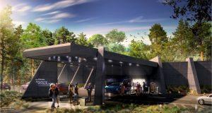 Foto do conceito artístico da área externa do Galactic Starcruiser, o novo hotel de Star Wars, que imita uma nave espacial (chamada Halcyon)