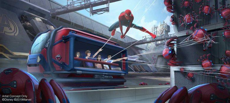 Foto do conceito artístico de como será a atração do Homem Aranha no Avengers Campus