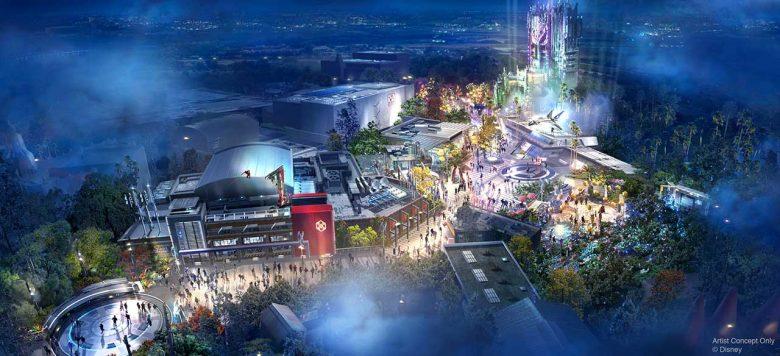 Imagem divulgada pela Disney do projeto do Avengers Campus visto de cima e iluminado.