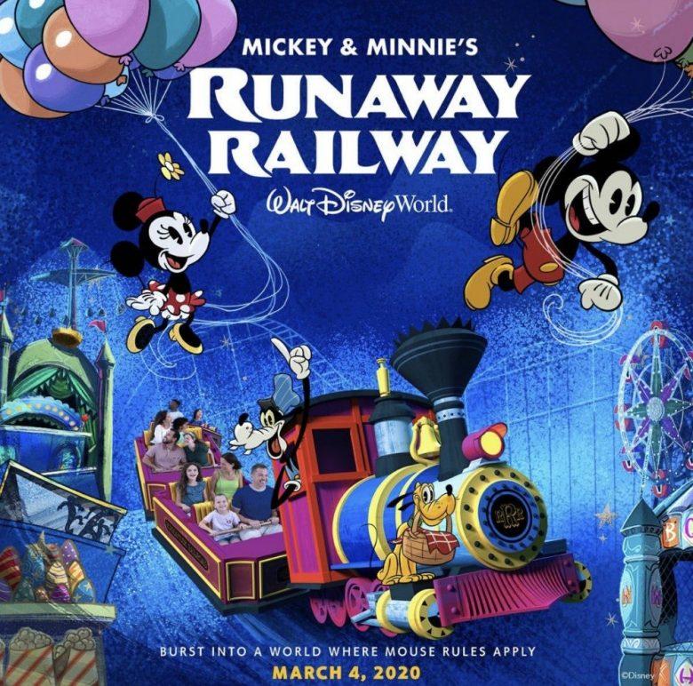 Imagem de divulgação da atração Mickey & Minnie's Runaway Railway, que mostra o Mickey, a Minnie, o Pateta e o Pluto