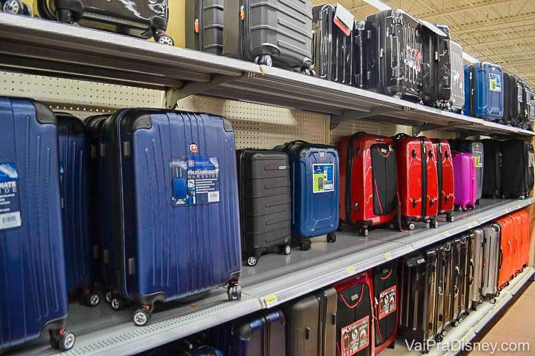 Foto de malas de diversas core, como azul, preto, vermelho e rosa, à venda na prateleira de uma loja