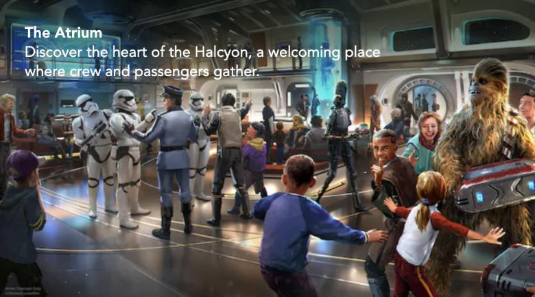 O Atrium, o saguão central da nave que será o coração de toda a experiência a bordo da Halcyon.