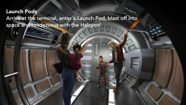 As cápsulas de lançamento no terminal intergalático da Halcyon para levar os visitantes a uma galáxia muito distante.