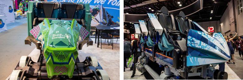 Foto dos carrinhos das novas montanhas-russas do SeaWorld e Busch Gardens
