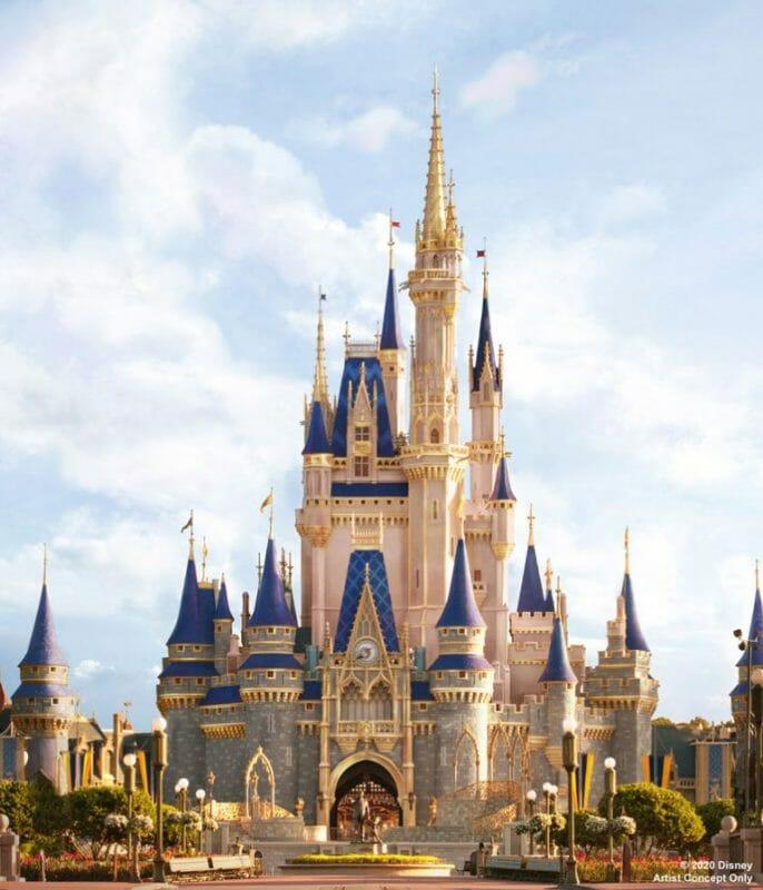 Foto do projeto artístico de como ficará o castelo depois da reforma, com detalhes em rosa, dourado e telhados em um azul mais escuro