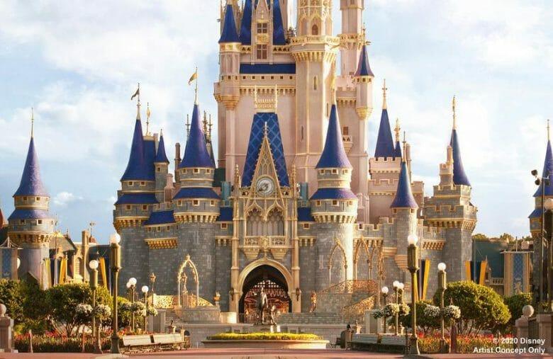 Foto do castelo da Cinderela do Magic Kingdom.