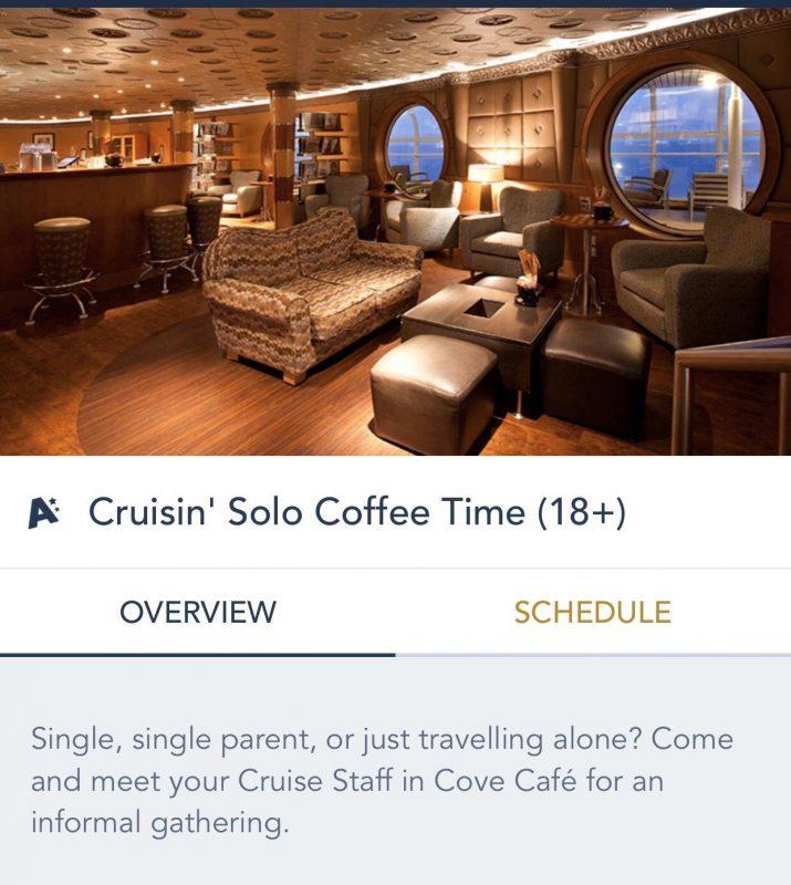 Foto do aplicativo da Disney mostrando um evento para quem viaja sozinho, o Cruisin Solo Coffee Time