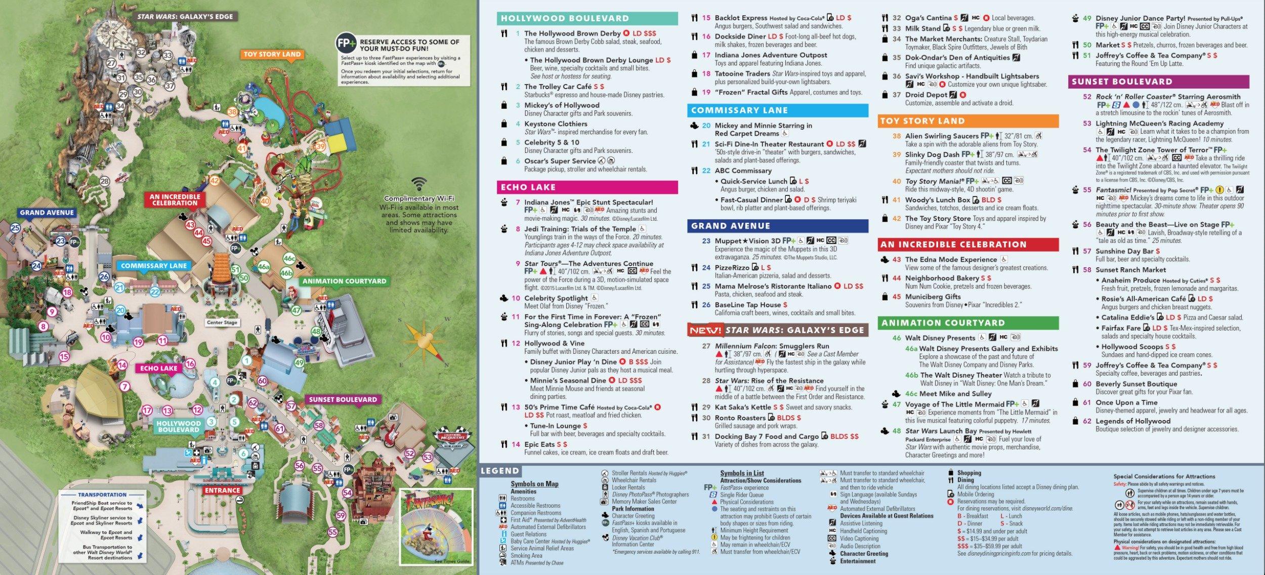 Mapa do Hollywood Studios. A Lightning McQueen's Racing Academy fica no número 53. Foto: Divulgação