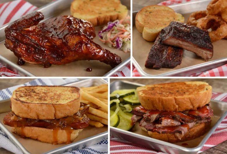 Imagem com 4 exemplos de pratos servidos no Royal Eagle, como carnes de porco e sanduíches
