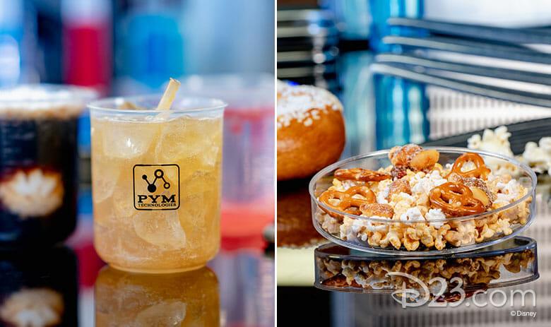 Foto de um drink e de pipoca com mini pretzels, que serão vendidos no Pym Tasting Lab