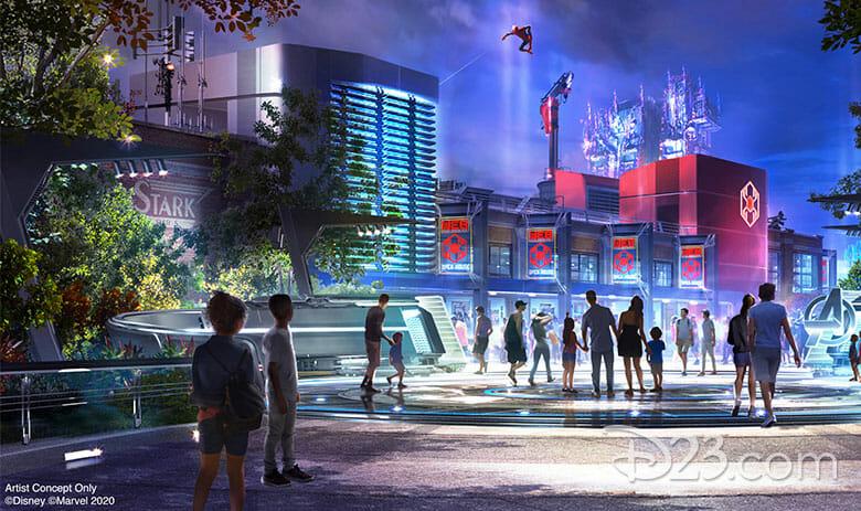Imagem divulgada pela Disney do projeto do Avengers Campus. É possível ver prédios iluminados, um com o logo Stark, e a Tower of Terror ao fundo.