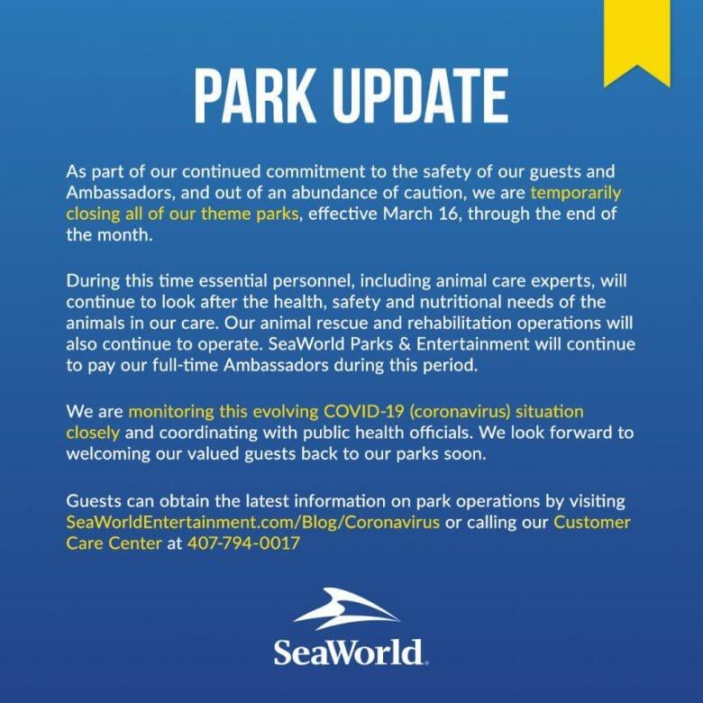 Foto do anúncio feito pelo grupo SeaWorld a respeito do fechamento dos seus parques.