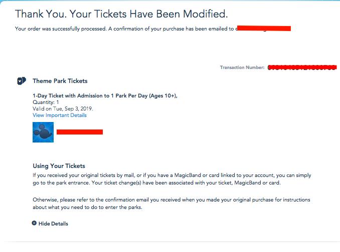 Imagem da tela final mostrando a confirmação de que os ingressos foram alterados