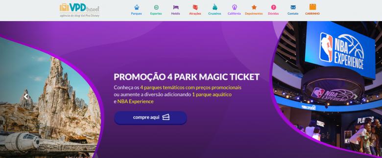 """Foto da tela no VPD Travel, em um fundo roxo, com o texto """"Promoção 4-park Magic Ticket"""""""