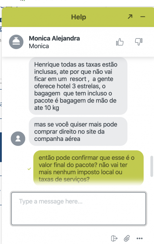 Imagem do chat com o serviço de atendimento do Hurb, tirando dúvidas a respeito do pacote de viagem.